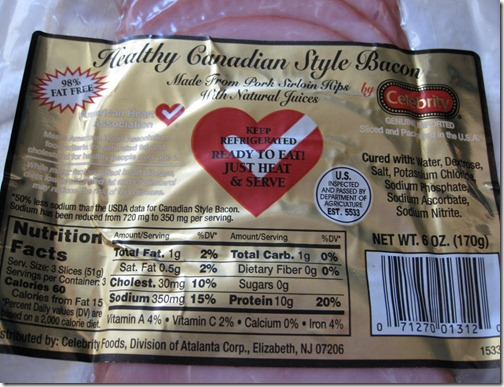 Trader Joe's 98% Fat Free Canadian Bacon