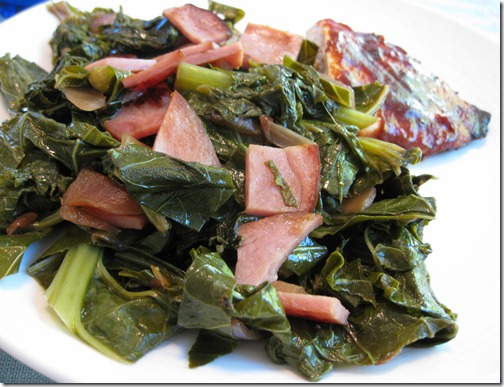 Collard Greens with Bacon + BBQ Chicken!