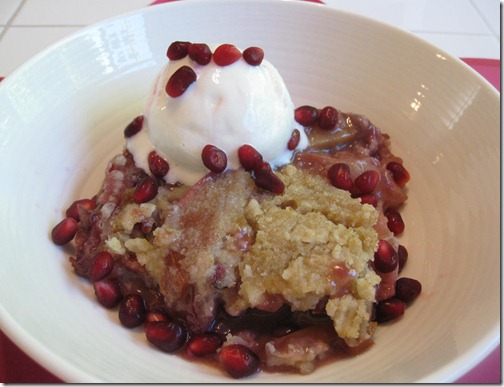 Pomegranate Nectarine Crisp with Low-Fat Vanilla Frozen Yogurt
