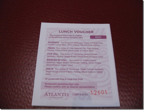 Atlantis Lunch Menu