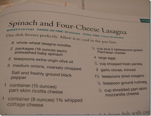 South Beach Diet Spinach and Four-Cheese Lasagna Recipe