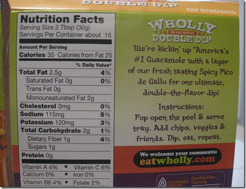 Wholly Guacamole Nutritional Information