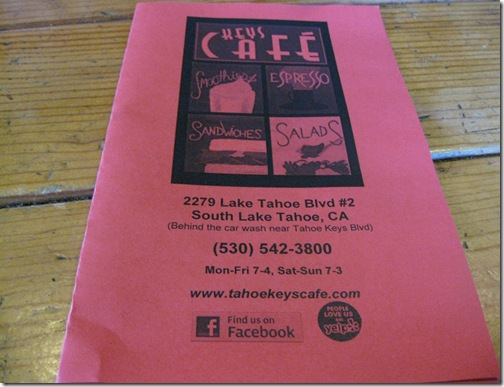 Keys Cafe Menu