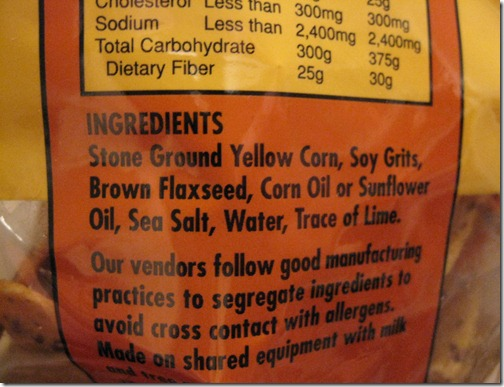 Trader Joe's Soy & Flaxseed Tortilla Chip Ingredients