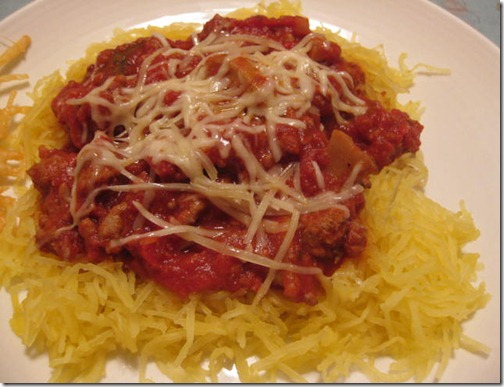 Spaghetti Squash with Cabernet Meat Sauce