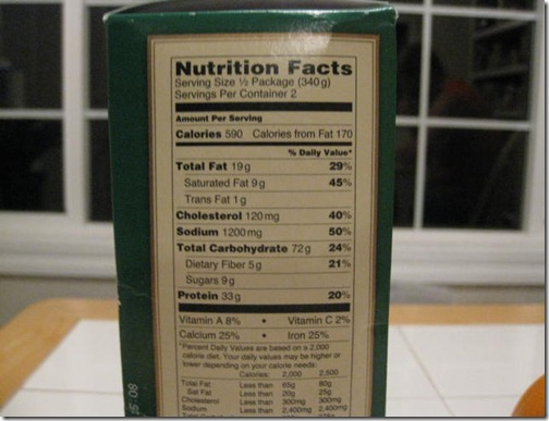 Buitoni Frozen Meal Nutrition Facts