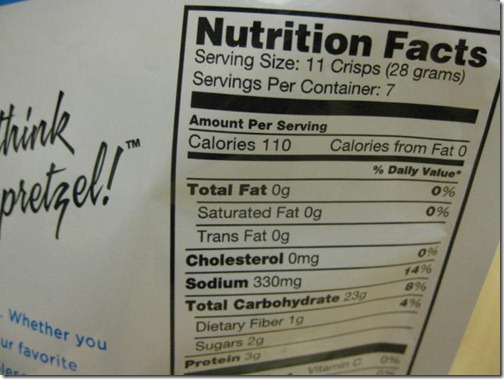 Pretzel Crisp Nutritional Information