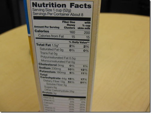 Fiber One Honey Clusters nutritional information