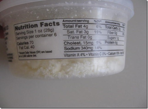 Trader Joe's Crumbled Feta Nutritional Information
