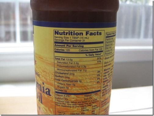 Macadamia Nut Oil Nutritional Information