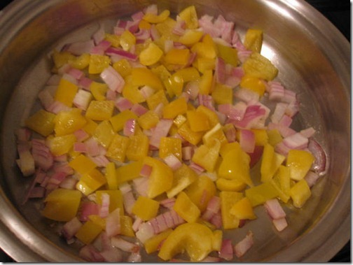 Yellow peppers and red onion
