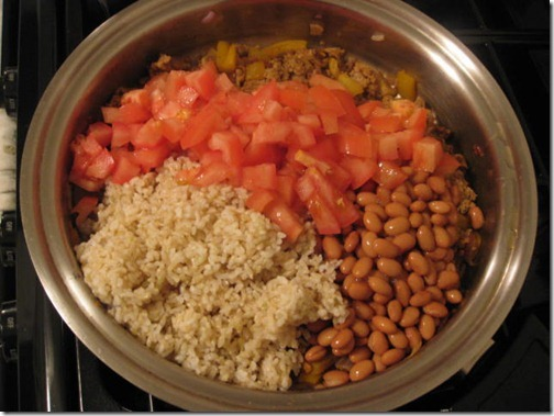 Tomatoes, beans and rice