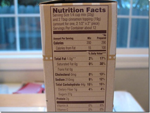 Trader Joe's Cinnamon Crumb Cake Nutritional Information