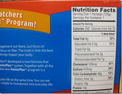 Weight Watchers Frozen Meal Nutrition Facts