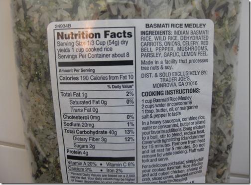 Trader Joe's Rice Nutrition Facts