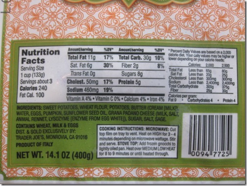 Trader Joe's Sweet Potato Gnocchi Nutrition Facts