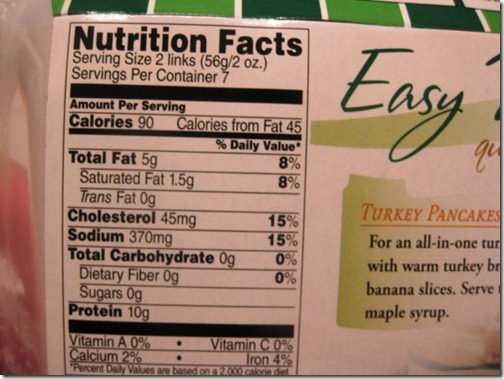 Jennie-O Sausage Nutrition Facts