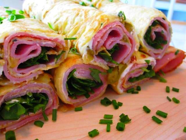 Ham Cheese Crepe Roll Ups