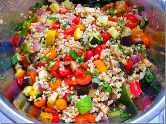 ROASTED VEGETABLE BARLEY SALAD WITH LEMON