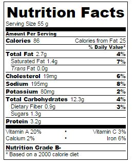 Vegetarian Stuffin Muffin Nutrition Facts